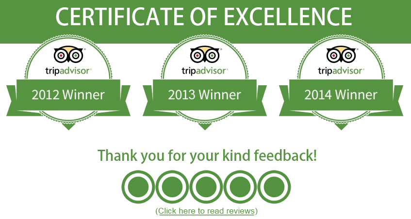 TripAdvisor Certificate of Excellence Awards for 2012-2014