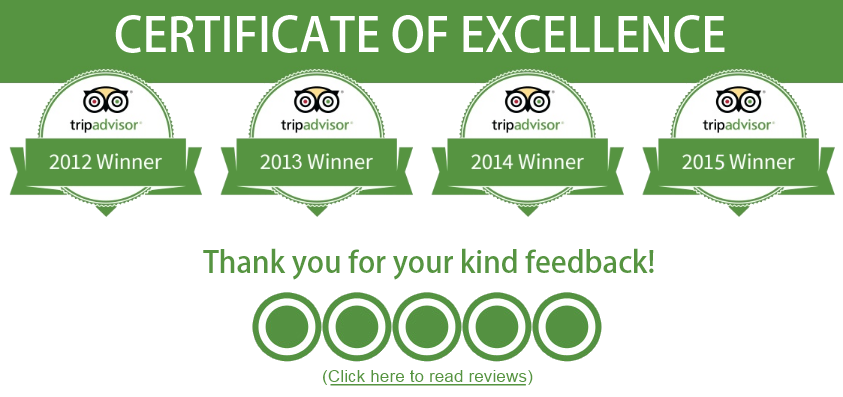 TripAdvisor Certificate of Excellence Awards for 2012-2015